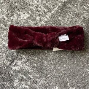 Calvin Klein Faux Fur Knotted Headband